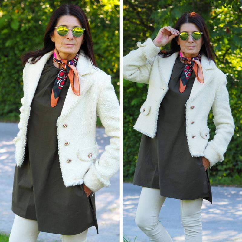 Weiße Jacke mit Kleid oliv Zara