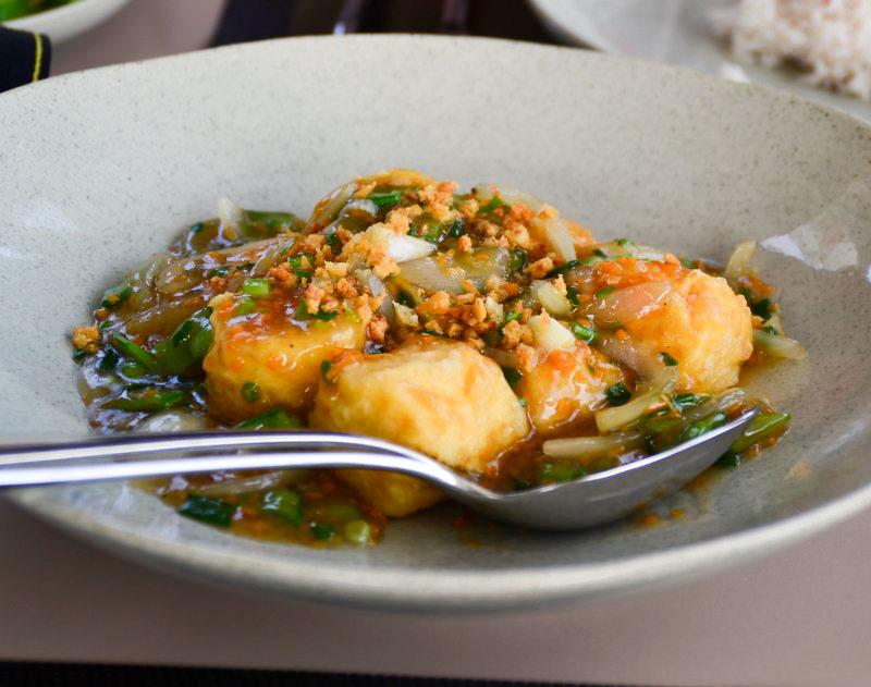 Weiche Speise mit Tofu in Thailand