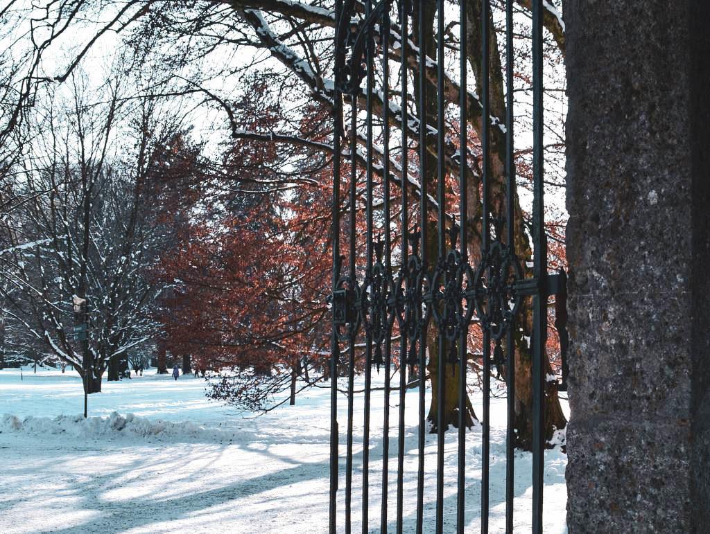 Schlosspark in Hellbrunn im Schnee