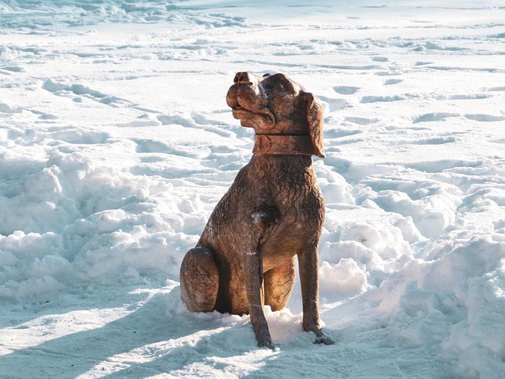 Hundestatue in Hellbrunn
