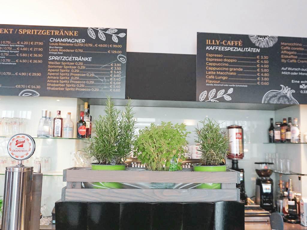 Kräutertöpfe im MS Café Museum